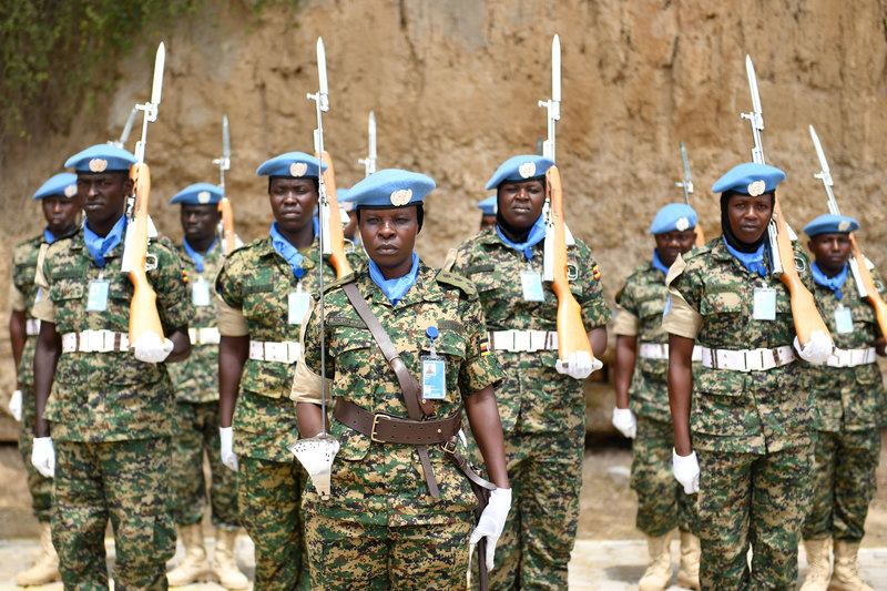 Ugandan soldiers serving under the United Nations Guard Unit, on parade during the command hand over/takeover ceremony held in Mogadishu, Somalia on July 25, 2019.UN Photo/Ilyas Ahmed