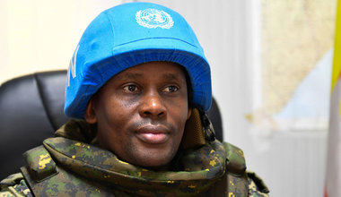 UN Photo/Ilyas Ahmed The Commander of the United Nations Guard Unit (UNGU) in Somalia, Colonel Stuart Agaba speaks during an interview in Mogadishu.